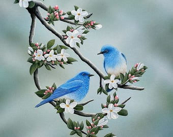 Signs of spring print,  bluebirds in an apple tree