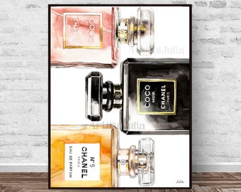 Chanel perfume poster, Chanel watercolor painting, print of my original painting