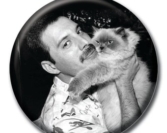 Freddy Mercury holding a cat 1.75 inch pinback button Queen