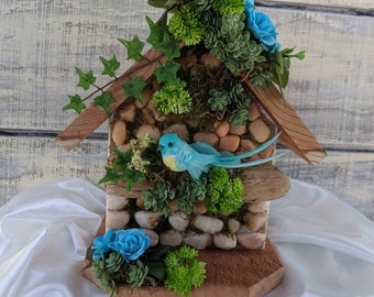 Stone Birdhouse/Rustic Birdhouse/Aqua Decor/Succulent/Succulents/Birdhouse/Stone Art/Birds/Decorated Birdhouse/Mothers Day Gift