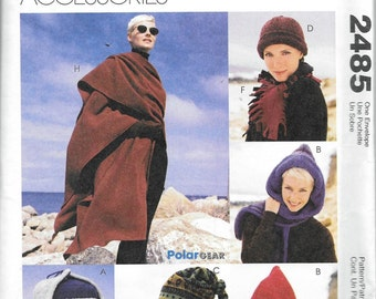 McCall's 2485 Fashion Accessories Hats, Beanies, Scarf, Cape,Gloves Pattern UNCUT