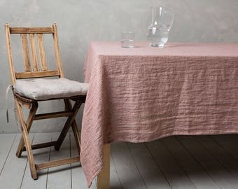 "Linen tablecloth-Linen table cloth in Woodrose-Table linens-Tablecloth-Washed Linen tableloth-Large tablecloth - Width 59"" x Custom length ."