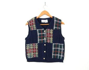 Vintage 90s Plaid Patchwork Women's Sweater Vest - Medium - Preppy Blue Red Green Cotton Knit Hipster Golf Vest