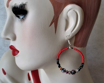Very nice pair of hoop earrings with pearls of Bohemian style handmade