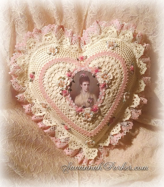 Antique Style Exquisite Romantic Cottage Shabby Chic Pillow - Pale Yellow/Blush Pink Crocheted Heart Shape - Ribbonwork Roses - Antique Lace