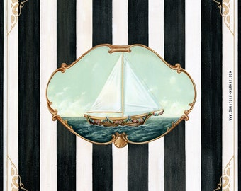 Ship of Festoons, Fine art print, Nautical