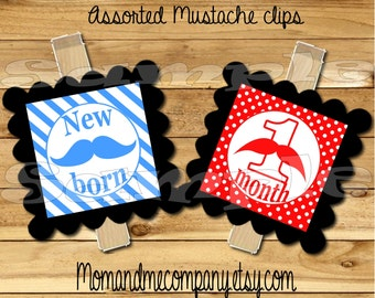 Baby Boy First year photo clip banner Blue Red mustache first birthday clip 12 month banner first year banner Mustache party RIBBON INCLUDED