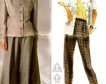 Vogue 1859 Calvin Klein Designer Jacket, Skirt & Pants / 1980's SZ8 UNCUT