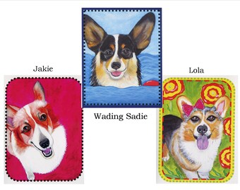 Set of 6 Cavalier Corgi Dog Blank Note Greeting Cards Packed in Acrylic Gift Box, whimsical, colorful, 3 designs