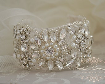 Gorgeous Vintage Inspiret Crystal Bridal Cuff/ Bracelet