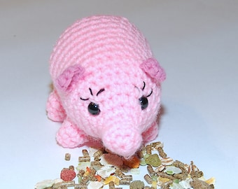 Crocheted Pink Toy Frog Amigurumi Stuffed Animal with Black Safety Eyes