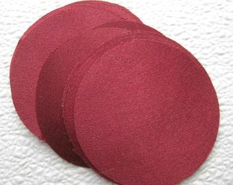 30 pcs 3 inches Deep Red Fabric Circles