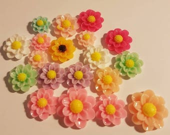 10 flowers in resin various colors for scrapbooking
