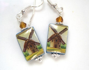 Windmills. Petite Mother of Pearl Shell Earrings. Handmade.