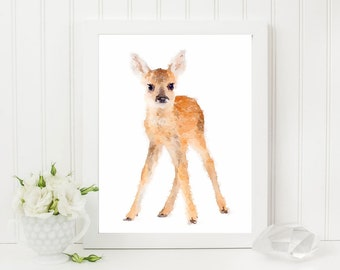 8x10 Baby deer watercolor wall art, fawn print, woodland animal - nusery animal wall art - watercolor - printable - jpg & pdf