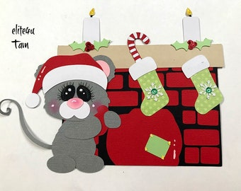 Elite4u Tam Christmas Mouse Fireplace die cut  Premade paper piecing for scrapbook page album