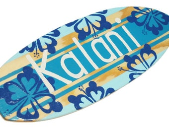 Personalized Surfboard Wall Art, 18 inch Beach Theme Surfboard Sign, Custom Name Sign, Surf Room Decor, Coastal Decor, Beach Decor Wall Art