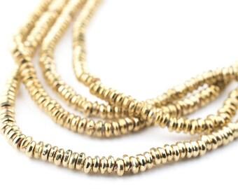 480 Gold Heishi Beads: Ethnic Metal Beads Metal Spacer Beads Boho Brass Beads Brass Heishi Beads 3mm Brass Beads (MET-HSH-GLD-519)
