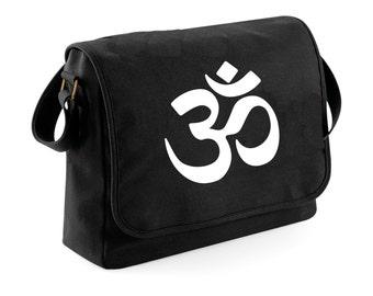 Bag messenger black - OHM - ohm symbol - series Yoga meditation