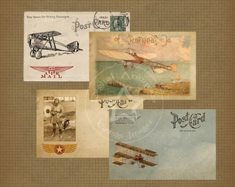 Vintage Airplane and Flyer Postcards Instant Digital Download