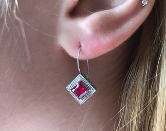 Vintage Style Ruby Diamond Shape Earrings