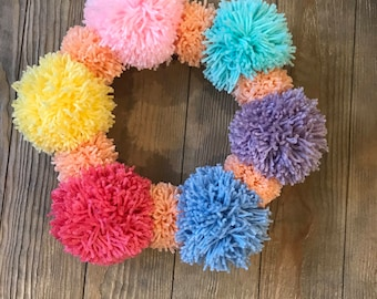 Easter Themed Pom Pom Wreath! Free Shipping