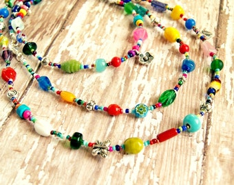 long beaded necklace, boho jewelry, rainbow jewelry, hippie necklace, gift for her