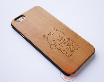 Lucky Cat, Good Luck, Wood iPhone 8 case, iPhone 7 Plus case, iPhone 6 case, iPhone 8 case, iPhone X case, Carved Wood phone case, DK-95
