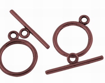 10 Sets Antique Copper Toggle Clasps / Copper Ox Round Toggles ... Lead, Nickel & Cadmium Free Jewelry Findings 12208.H6B