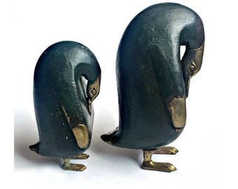 Vintage Penguin Figures, Wood and Brass Penguin Art Sculptures, Two Old Penguins, Collectible Penguin, Carved Wood Brass Penguins,