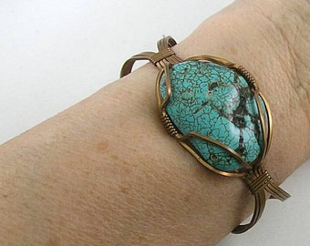 Skystone Cuff - Earthwalk Balancing Bracelet - Turquoise Wire Wrapped