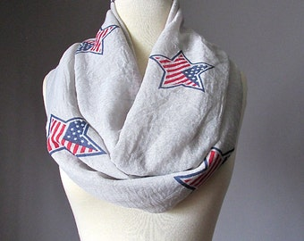 American Flag scarf, Lightweight Spring infinity scarf, Fashion Independence day scarf, Scarves for Women, Navy Red White, Summer scarf