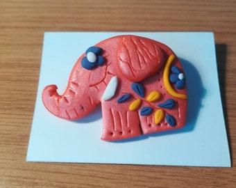 Brooch Elephant Brooch polymer clay