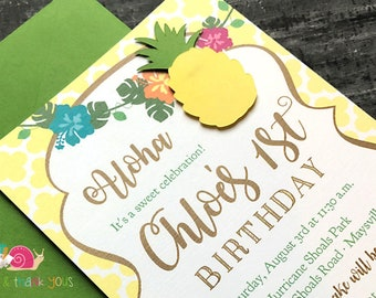 Pineapple Party Invitations · A6 FLAT· Sunshine Yellow and Green · BBQ Invite   Sweet Summer Socials   Picnic or Luau Invites   Die cut