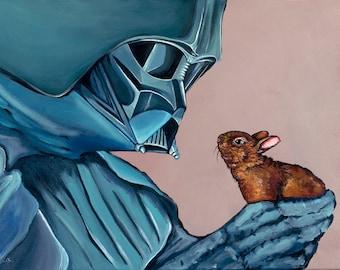 PRINT- Made from original Artwork Darth Vader with small Baby Bunny Rabbit