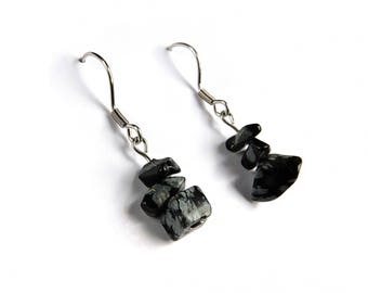 Handmade earrings obsidian, genuine obsidian jewelry gemstone, natural stone jewelry, healing crystal earrings, natural obsidian jewel ahin