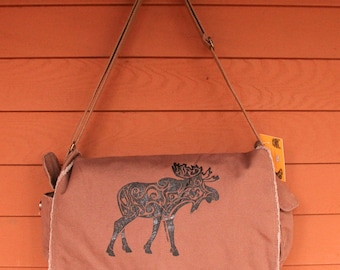 MOOSE Tribal Tattoo Messenger Bag -  Screen Printed Original Design