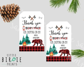 LUMBERJACK first birthday party favor tags - Lumberjack birthday party favor tags - Lumberjack birthday party decorations - Party favors -