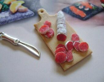 1 dolls house miniatures food salumi tray maison de poupée Dolls house fimo