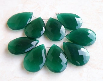 Green Onyx Gemstone Briolette Faceted Pear Tear Drop 25 to 27mm 5 beads matched