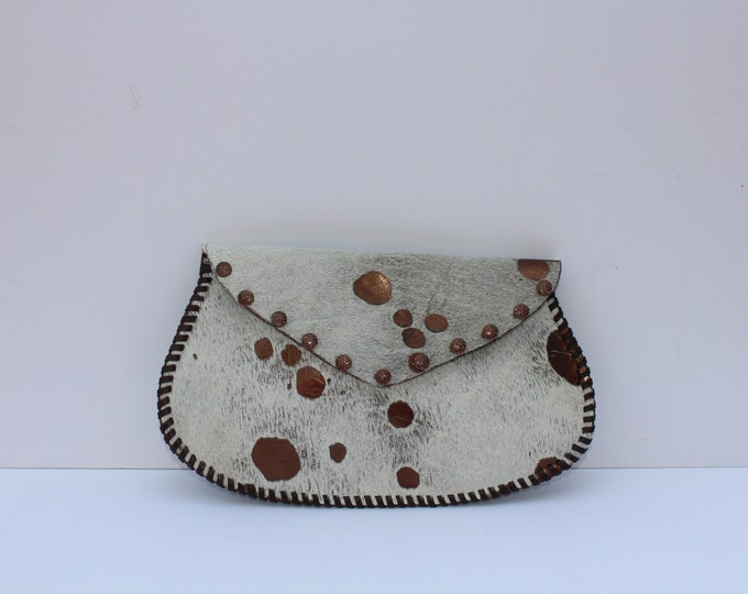 Cowhide Clutch in the Appaloosa Collection