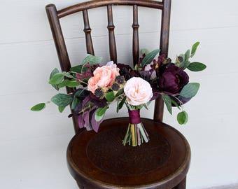 Wedding Bouquet Silk Flower | Marsala Wine, Light Coral and Peach | Fake Flower Keepsake Bouquet | SG-1064
