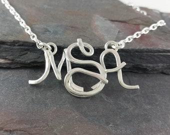 Smaller Sterling Silver Monogram Necklace, Choose Your Font