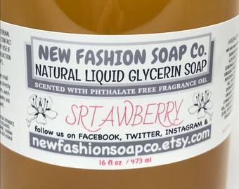 STRAWBERRY LIQUID GLYCERIN Soap,luxurious, gentle on your hands, parabens, detergents and phthalate free,no synthetic colors, Hostess favors