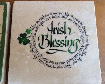 "Irish coasters, SET of 4, 4"" x 4"" tiles, your choice of shamrock, Irish blessing, slainte, Yeats, Irish toast: also in canvas art and prints"