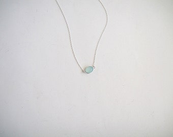 Aqua Green Chalcedony Necklace, Light Mint Chalcedony Necklace, Seafoam Gemstone Necklace, Sterling Silver Necklace, Sea Foam Gemstone