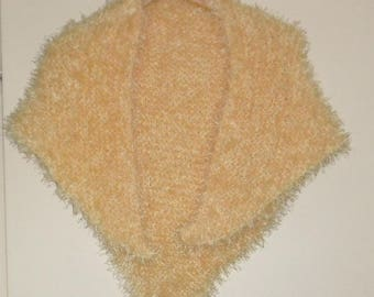 beautiful warm yellow hand knit shawl