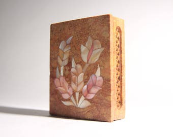 Vintage Indian Soapstone Incense Box with Mother of Pearl Inlay