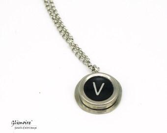 Smith and Corona typewriter key necklace-letter V pendant (art. 39)