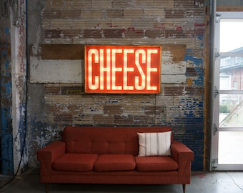 CHEESE Handcrafted wooden light bulb signs.